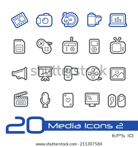 Media Icons // Line Series - stock vector