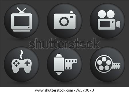 Media Icons on Black Internet Button Collection Original Illustration - stock vector