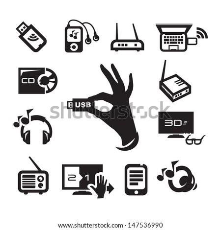 Media icons set - stock vector