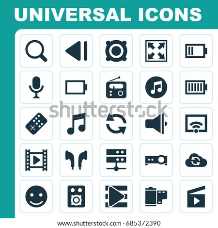 Media Icons Set. Collection Of Cloud, Signal, Speaker And Other Elements. Also Includes Symbols Such As Sync, Controller, Slow.