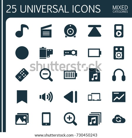 Media Icons Set. Collection Of Eject, Broadcast, Full Battery And Other Elements. Also Includes Symbols Such As List, Headphone, Speaker.