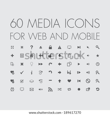 media icons set for web and mobile - stock vector