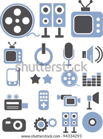 media icons set, vector - stock vector