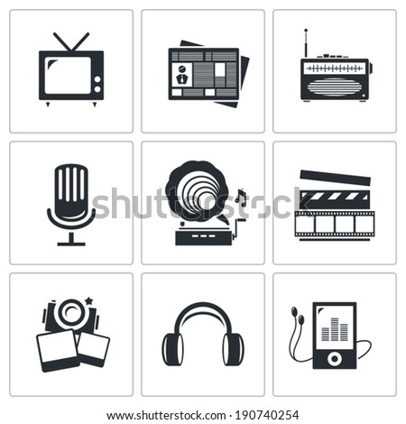 Media icons set - video, news, music, TV, recording, photo  - stock vector