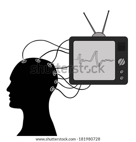 media impact on the human mind on the ideal image - stock vector