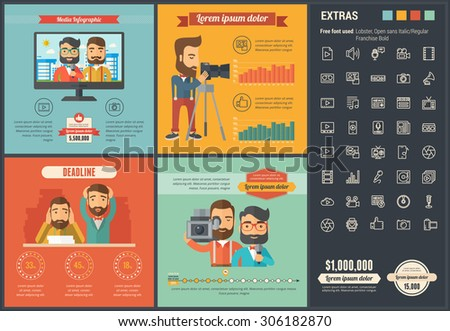 Media infographic template and elements. The template includes illustrations of hipster men and huge awesome set of thin line icons. Modern minimalistic flat vector design. - stock vector