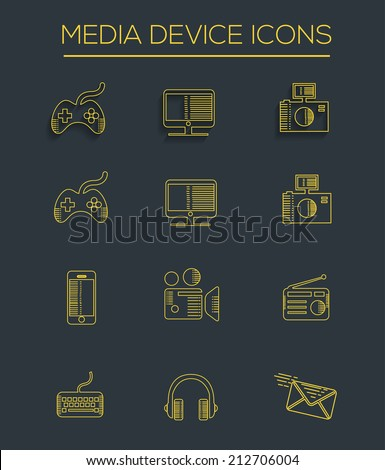Media line icons,clean vector - stock vector