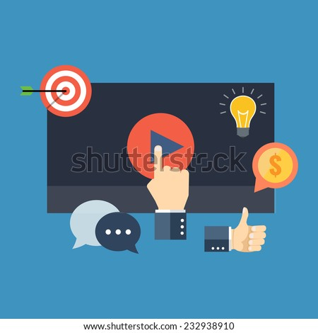 Media marketing concept. Flat design stylish. Isolated on color background - stock vector