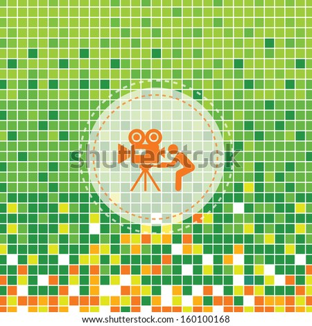 media movie symbol on green background - stock vector