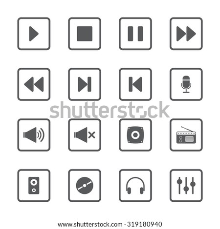 Media music video UI vector icons set for web and mobile