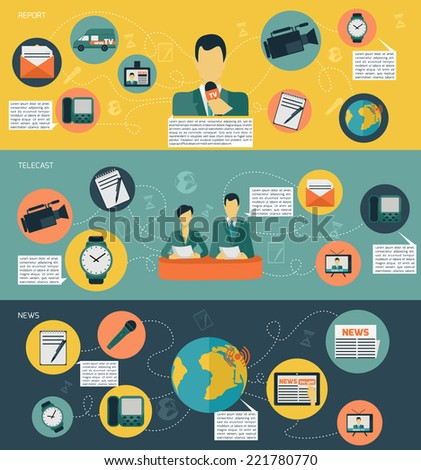 Media news banner set with radio tv newspaper communication isolated vector illustration - stock vector