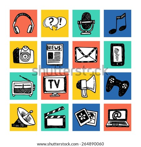 Media news information service broadcasting television icons set colored isolated vector illustration - stock vector