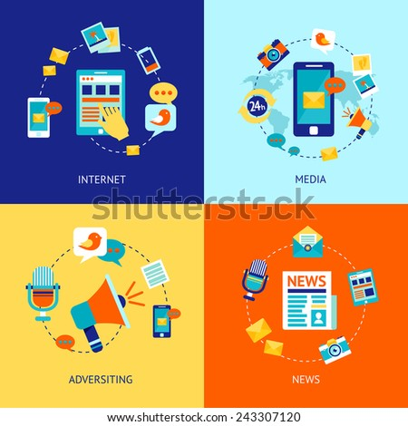 Media news social communication flat icons set with internet advertising isolated vector illustration - stock vector