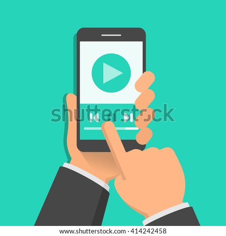 Media player app on smartphone screen. One hand holds smartphone and finger touch screen. Flat design vector illustration - stock vector