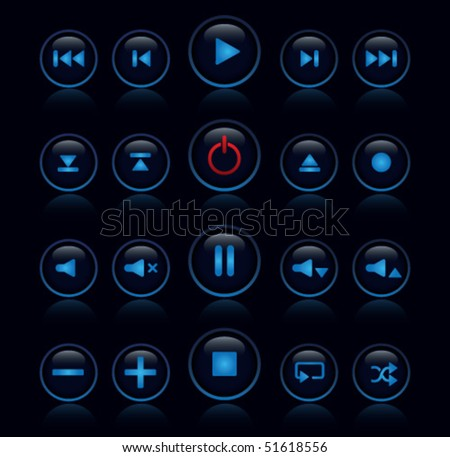 Media player buttons - stock vector