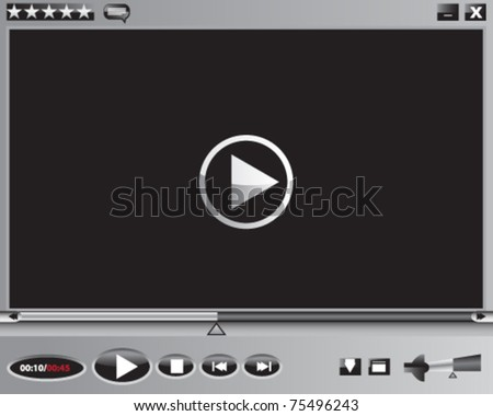 Media player, buttons - stock vector