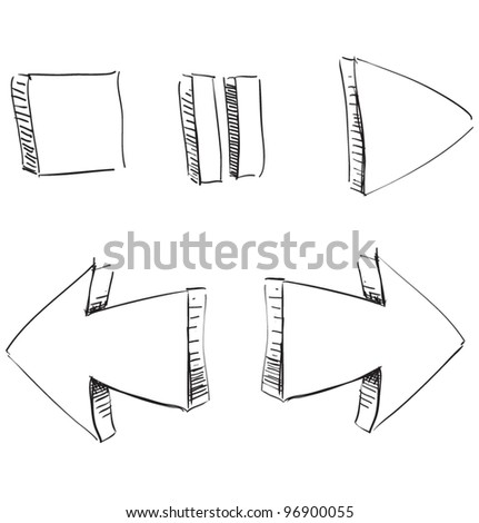 Media player buttons. Fast drawing sketch vector illustration - stock vector
