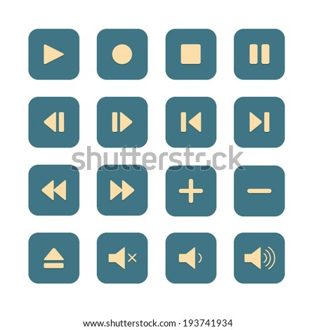 Media Player Buttons in flat design style, Video interface icon on white background - stock vector