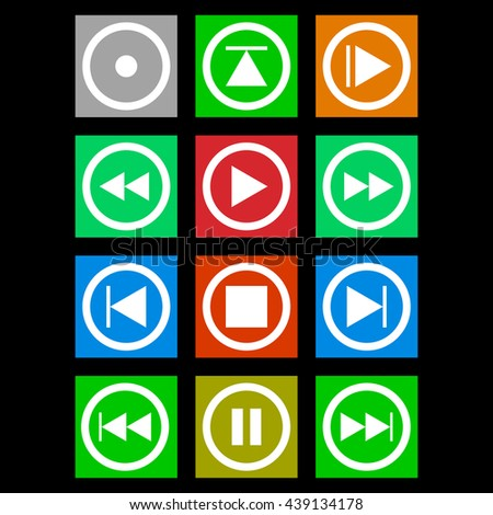 Media player colored buttons. Set audio and video player buttons. Player buttons on a colored background. Multimedia player icon set. Vector illustration