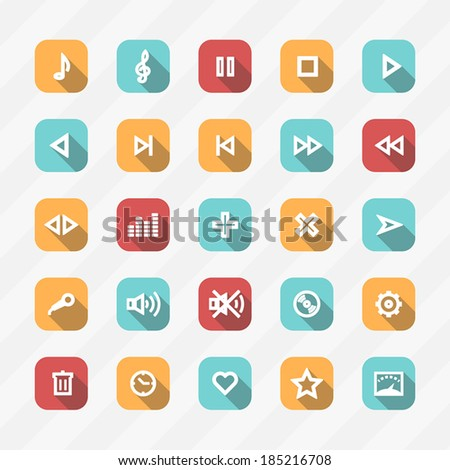 media player  control button sign set. - stock vector