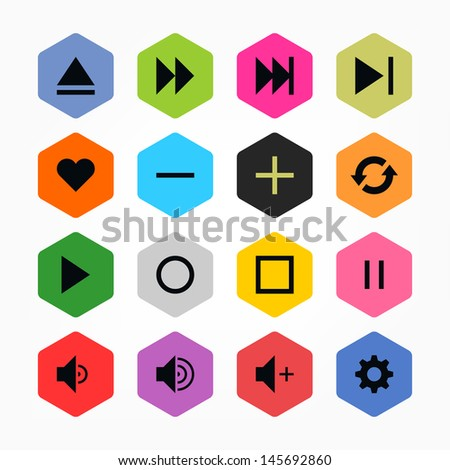 Media player control button ui icon set 06. Black on color. Simple rounded hexagon internet sign. Solid plain monochrome color flat tile. New minimal elegant metro style. Web design elements 8 eps - stock vector