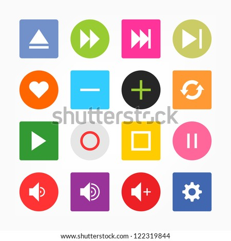 Media player control button ui icon set. Simple circle and rounded square internet sign on gray background. Solid plain monochrome color flat tile. New minimal metro style. Web design elements 8 eps - stock vector