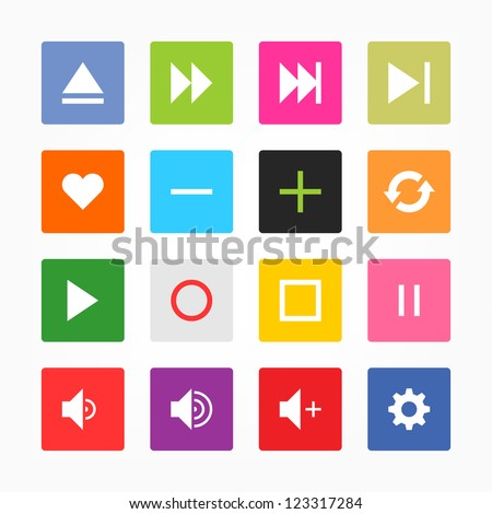 Media player control button ui icon set. Simple rounded square sticker internet sign gray background. Solid plain mono one-color flat tile. Newest style. Vector illustration web design elements 8 eps - stock vector