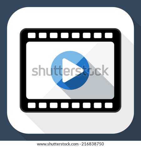 Media player flat icon with long shadow - stock vector