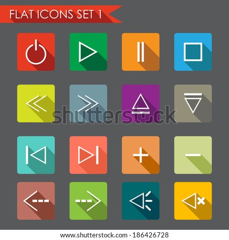 Media player flat icons - stock vector