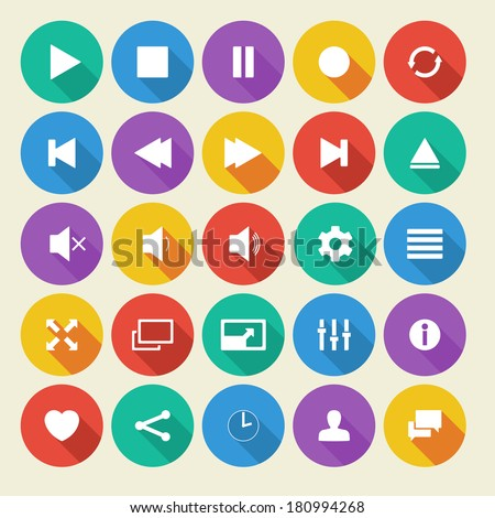 Media player flat vector icons with long shadow. - stock vector