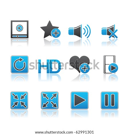 Media Player icon set 15 - Blue Series.  Vector EPS 8 format, easy to edit. - stock vector