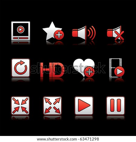 Media Player icon set 15 - White and Red Series.  Vector EPS 8 format, easy to edit.