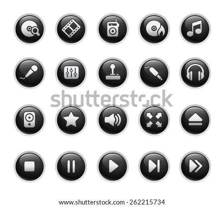 Media Player Icons - stock vector