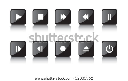Media player icons - black squared buttons. - stock vector
