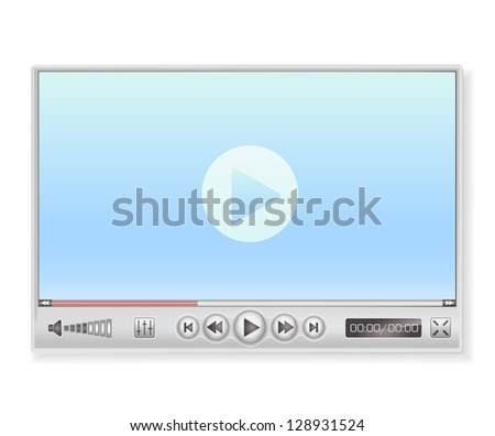 media player in light colors - stock vector