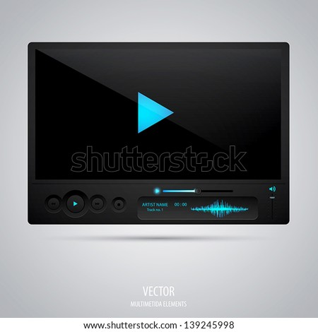 Media player interface. Vector - stock vector
