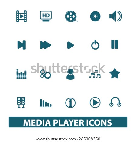 media player, music, audio icons, signs, illustrations design concept set for appliciation, website, vector on white background - stock vector