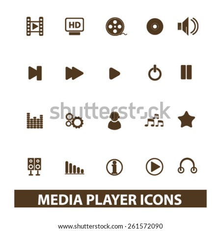 media player, music, audio isolated icons, signs, illustrations collection concept design set for web and application on background, vector - stock vector