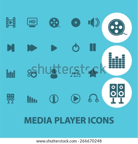 media player, music, audio isolated icons, signs, illustrations concept website internet design set, vector - stock vector