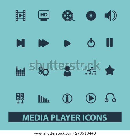 media player, music, audio isolated icons, signs, illustrations website, internet mobile design concept set, vector - stock vector