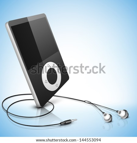 Media Player on blue background. - stock vector