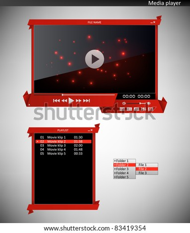 Media player (origami interface) - stock vector