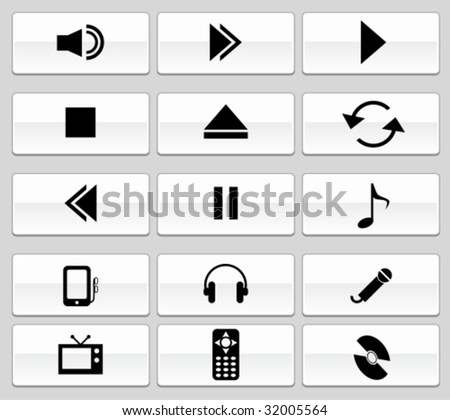 Media Player Set glide - stock vector