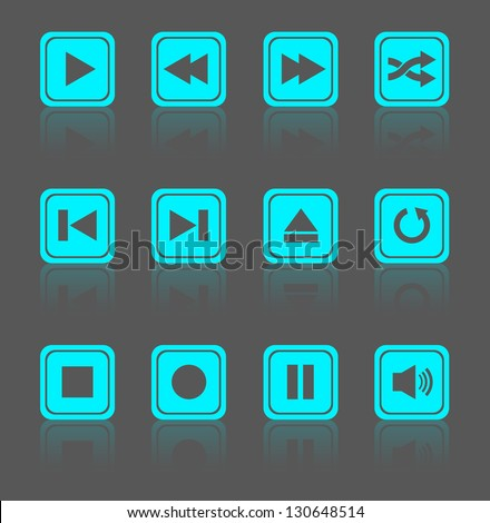 Media player square buttons collection. Vector design elements