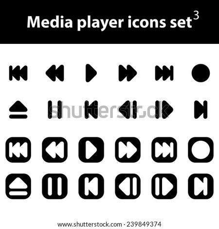Media Player vector icons set - stock vector