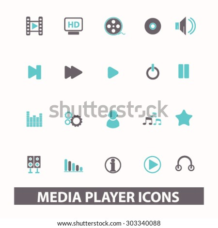 media player, video, audio, film flat isolated icons, signs, illustrations set, vector - stock vector