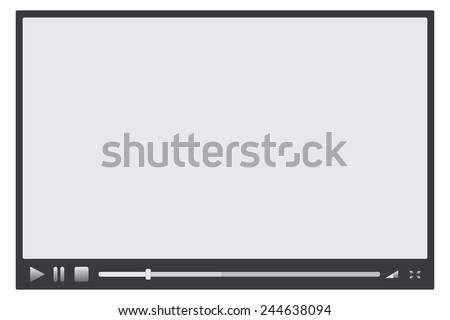 Media player with grey buttons and loading bar on white - stock vector