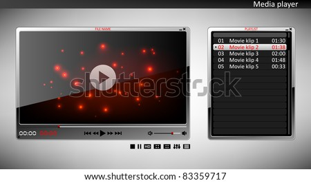 Media player with playlist - stock vector