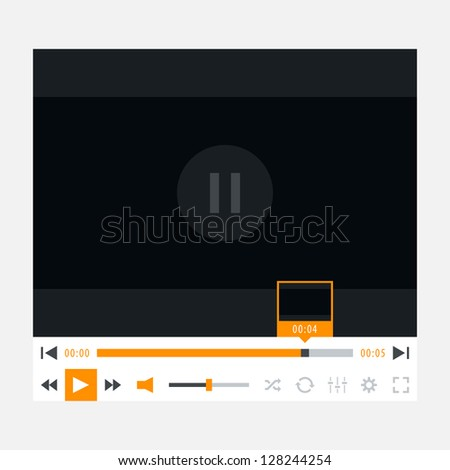 Media player with video loading bar. Variation 02 (orange color). New modern minimal metro cute style. Simple solid plain flat tile. This vector illustration web design element saved in 8 eps - stock vector