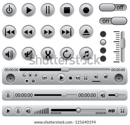 Media players - stock vector